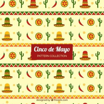 Modello piatto con elementi colorati per cinco de mayo