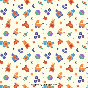 Flat pattern with colorful baby toys