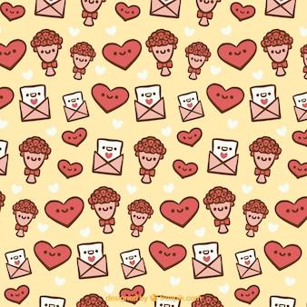 Плоский шаблон с улыбающиеся символы на день святого валентина