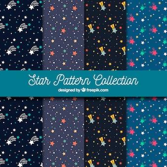 Collezione di motivi piatti con stelle