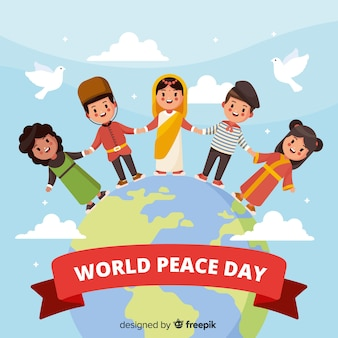 Flat peace day background with children