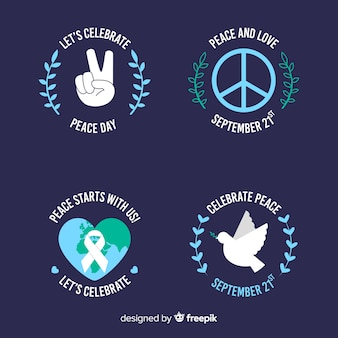 Flat peace day badge collection on dark background