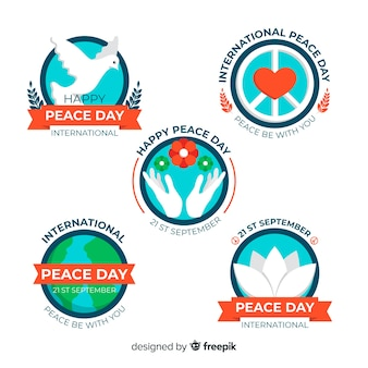 Flat peace day badge collection