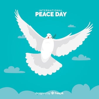 Flat peace day with dove