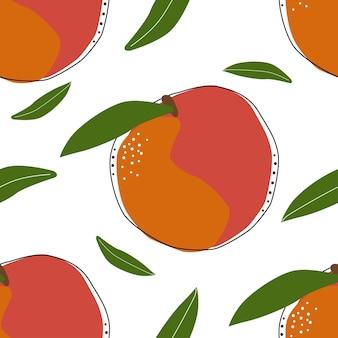蟠桃のシームレスな背景ベクトルイラスト。エキゾチックなフルーツ。健康的なライフスタイルデザインのパターン。スカンジナビアスタイル。ベジタリアンの夏の背景。キッチンアート。新鮮なポスター。
