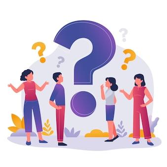 Persone piatte che fanno domande illustrazione