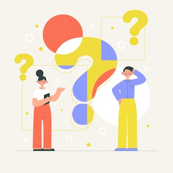 質問イラストを尋ねる平らな人々
