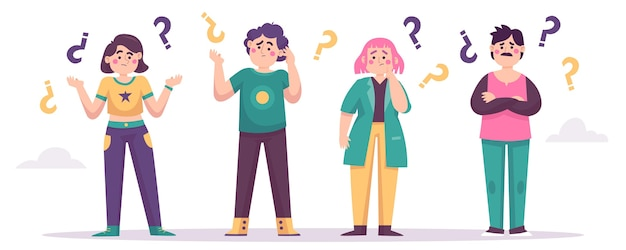 Persone piatte che fanno domande