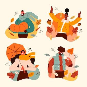 Flat people in autumn