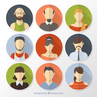 Persone piatte avatars cerchi dentro