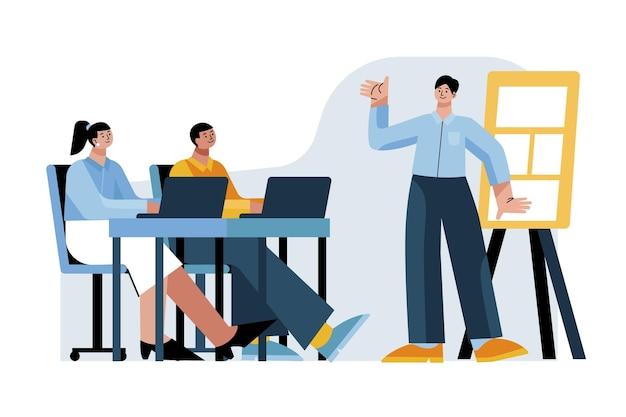Flat people on business training illustrated