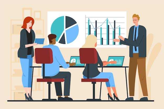 Persone piatte in formazione aziendale illustrate