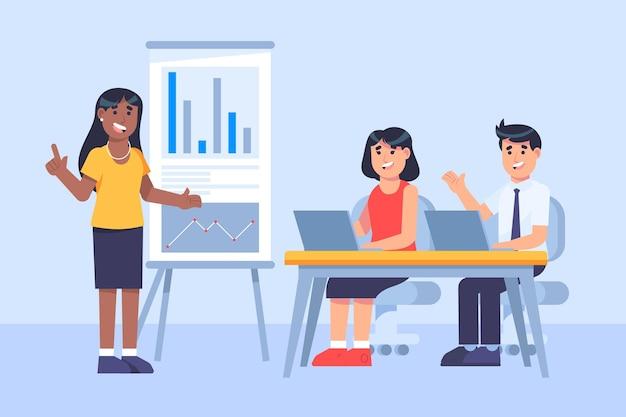 Flat people on business training illustration