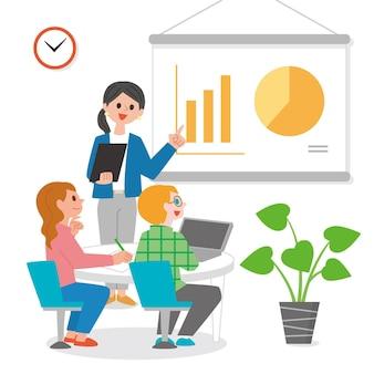 Persone piatte sull'illustrazione di formazione aziendale