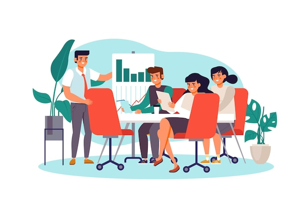 Flat people on business training illustration