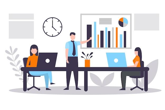 Flat people on business training