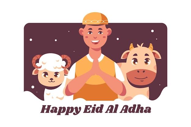 Flat people celebrating eid al-adha illustration
