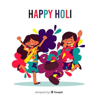 Flat people celebrating holi festival background