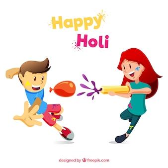 Flat people celebrating holi festival