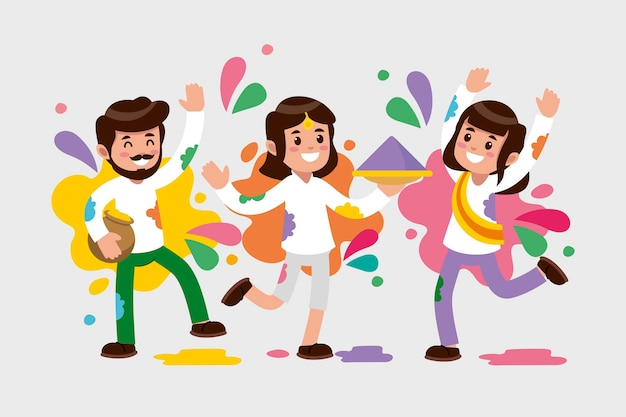 Flat people celebrating holi festival