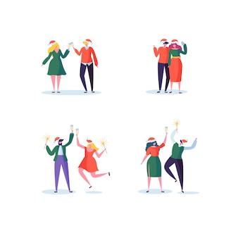 Плоские люди празднуют новогоднюю вечеринку с бокалами шампанского