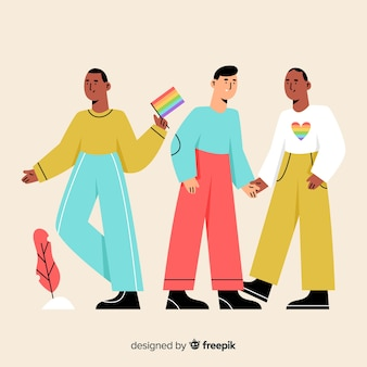 Flat people celebrating pride day