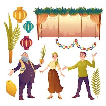 仮庵祭りを祝うフラットな人々