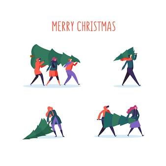 새해 파티를 준비하는 크리스마스 트리가있는 평평한 사람들 캐릭터