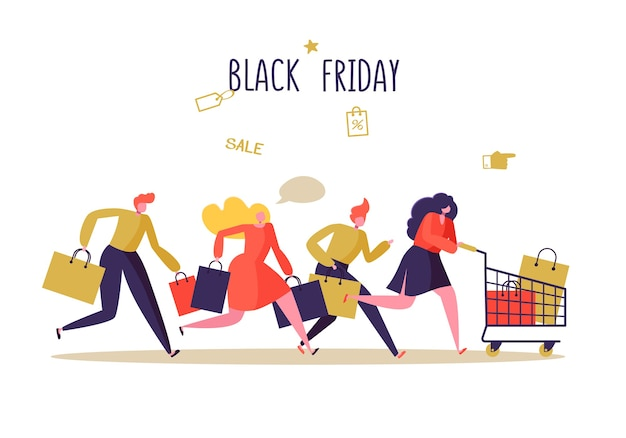 ショッピングバッグとフラットな人々のキャラクター