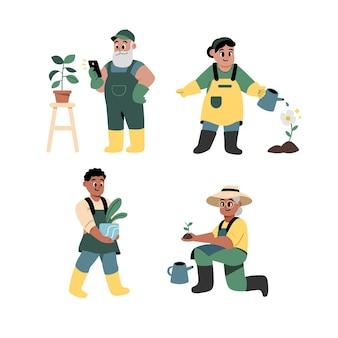 식물을 돌보는 플랫 사람들 컬렉션