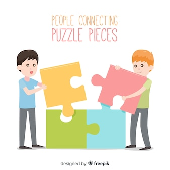 Flat people connecting puzzle pieces background