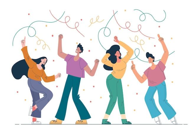 플랫 사람들 춤 그림