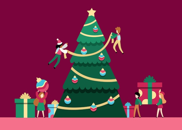 Flat people decorating christmas tree