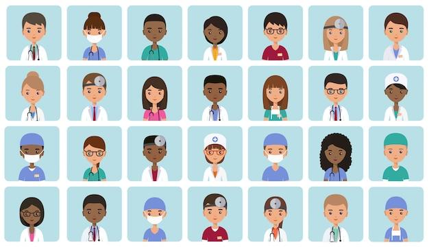平らな人々の医師、看護師、外科医。アニメーション化されたアバター。医療キャラクターに直面しています。アイコンを設定します。図。病院スタッフ。薬