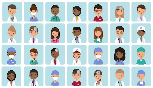 Flat people doctors, nurses and surgeons. animated avatars. faces medical characters. set icons.  illustration.  hospital staff. medicine .