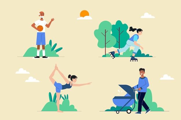 Плоские люди, занимающиеся деятельностью на природе