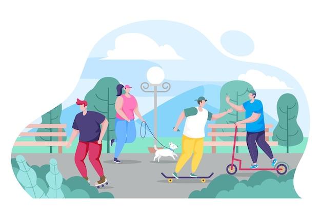 Persone piatte che fanno attività nel parco