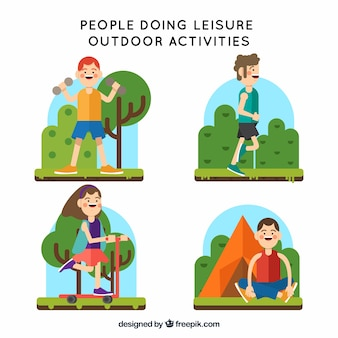 Flat people doing leisure outdoor activities