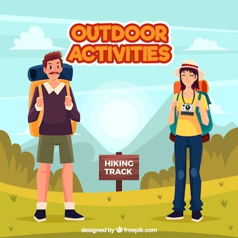 Flat people doing leisure outdoor activities