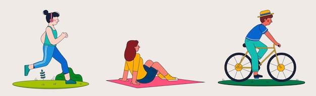 Плоские люди занимаются активным отдыхом