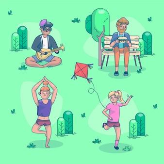 야외 활동을 하는 평평한 사람들