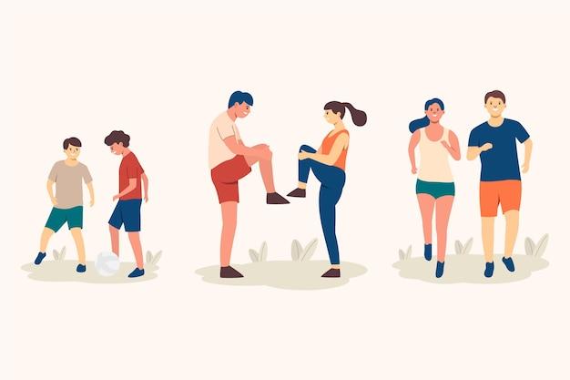 屋外でスポーツをしている平らな人々