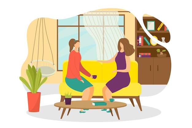 Flat people drink tea at home, vector illustration. woman friends character with coffee cup, sitting at sofa, have conversation. female person