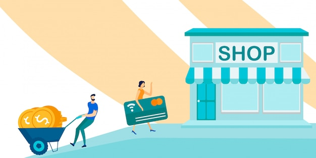 Flat people go shopping with cash and credit card