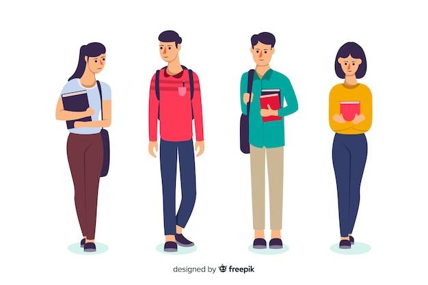 Плоские люди собираются в университетскую коллекцию