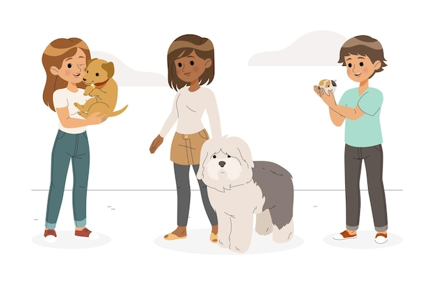 Flat people group with pets