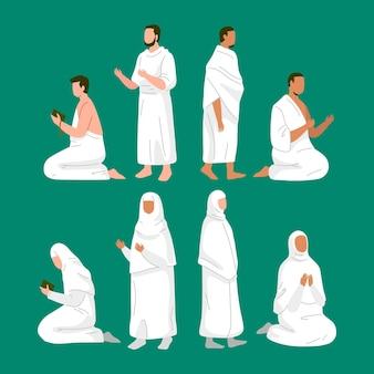 Flat people in hajj pilgrimage illustration