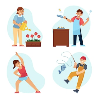 Set di hobby per persone piatte