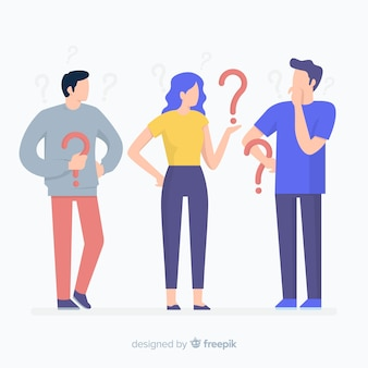 Flat people holding question marks background