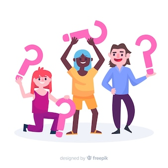 Flat people holding question marks